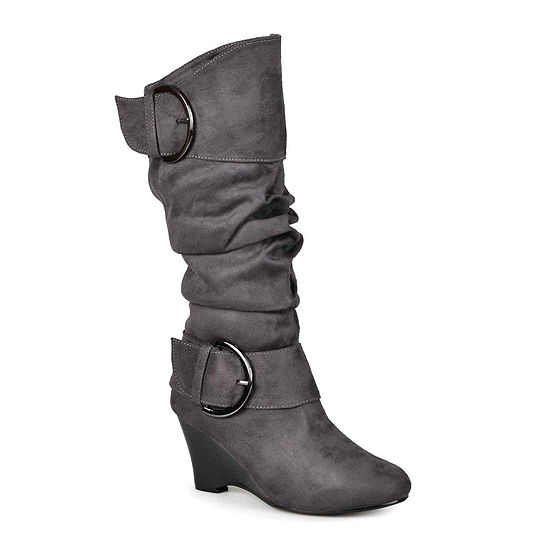 Journee Collection Womens Irene Wide Calf Wedge Slouch Boots