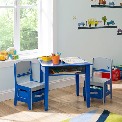 Jack & Jill Storage Table and Chairs Set - Blue and Gray