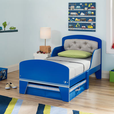 Jack & Jill Toddler Bed With Upholstered Headboard - Blue and Gray