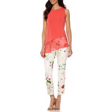 jcpenney.com   Worthington® Chiffon-Trim Asymmetrical Top or Slim Fit Ankle Pants