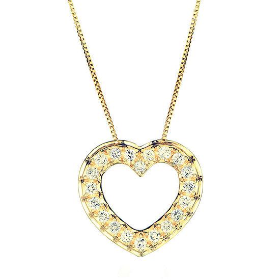 Womens 1/2 CT. T.W. Genuine Diamond 14K Gold Heart Pendant Necklace
