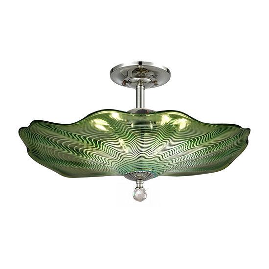 Dale Tiffany Verde Art Glass Semi Flush Mount Lighting