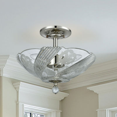 Dale Tiffany Macon County Crystal Semi Flush Mount Lighting
