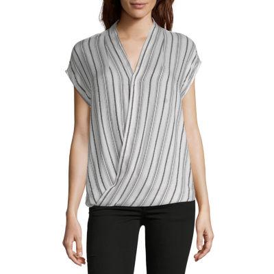 Liz Claiborne Spring Bouquet Womens V Neck Short Sleeve Wrap Shirt