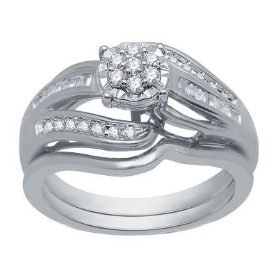 I Said Yes Womens 1/3 CT. T.W. Genuine White Diamond Platinaire Engagement Ring