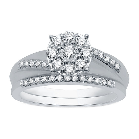 I Said Yes Womens 1/2 CT. T.W. Genuine White Diamond Platinaire Engagement Ring