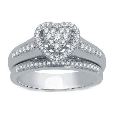 I Said Yes Womens 3/8 CT. T.W. Genuine White Diamond Platinaire Engagement Ring