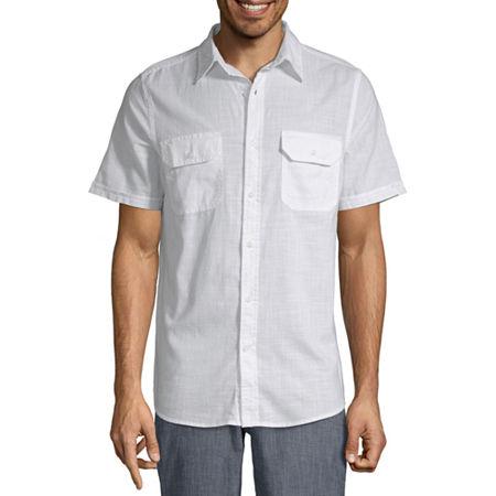 Vintage Mens Clothing | Retro Clothing for Men St. Johns Bay Mens Short Sleeve Button-Front Shirt Size Large White $8.09 AT vintagedancer.com