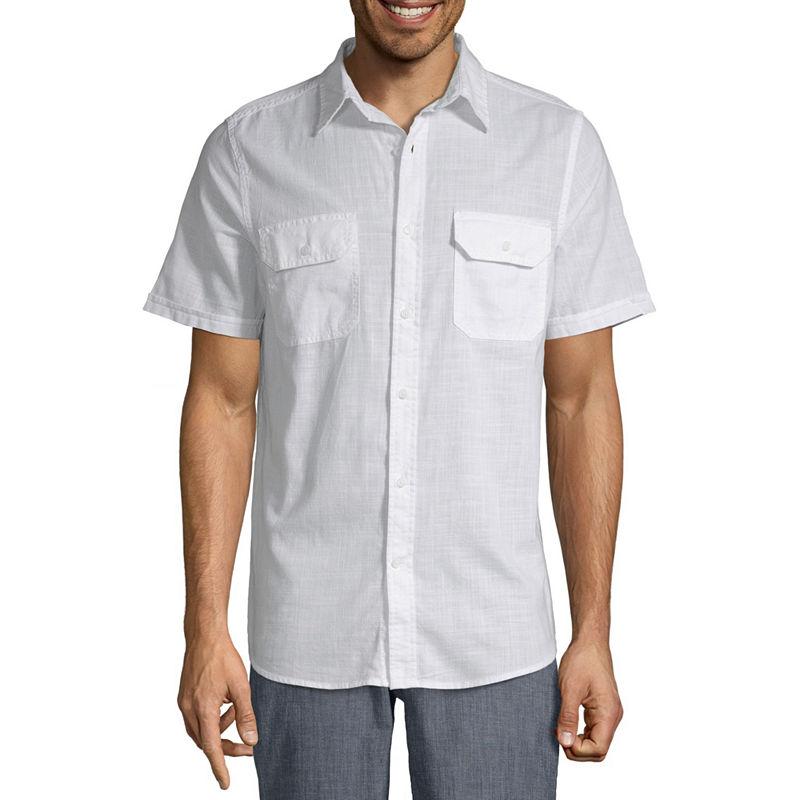 1940s Men's Shirts, Sweaters, Vests St. Johns Bay Mens Short Sleeve Button-Front Shirt Size Large White $7.19 AT vintagedancer.com