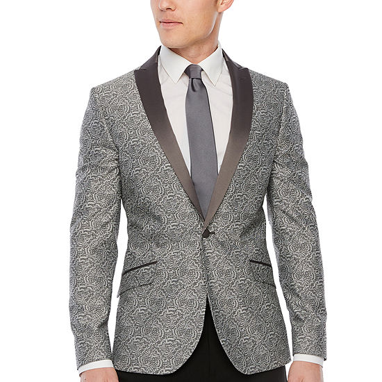 JF J.Ferrar Floral Super Slim Fit Stretch Tuxedo Jacket