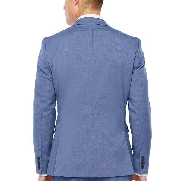 JF J.Ferrar Blue Texture Slim Fit Stretch Suit Jacket