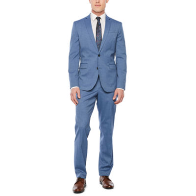 JF J. Ferrar Med Blue Texture Slim Fit Suit Separates