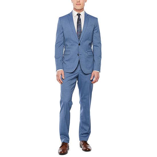 Jf J Ferrar Med Blue Texture Slim Fit Suit Separates