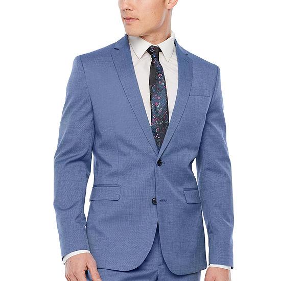 JF J.Ferrar Blue Texture Slim Fit Stretch Suit Jacket