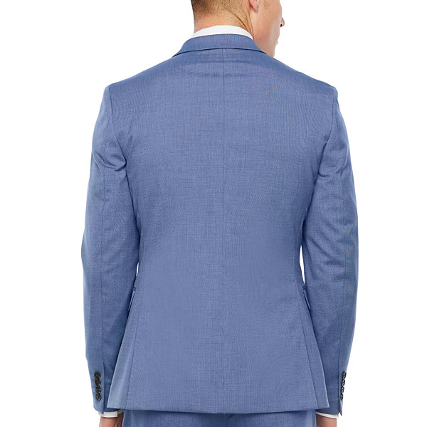 JF J.Ferrar Blue Texture Super Slim Fit Stretch Suit Jacket