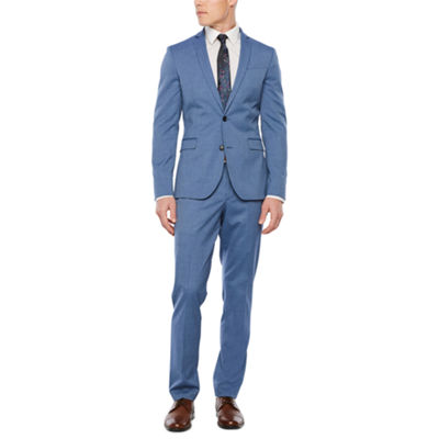 JF J. Ferrar Med Blue Texture Super Slim Fit Suit Separates