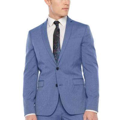 JF J.Ferrar Blue Texture Super Slim Fit Stretch Suit Jacket