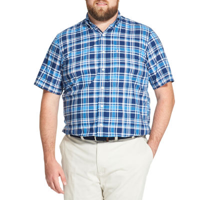 IZOD Saltwater - Dockside Chambray Mens Short Sleeve Plaid Button-Front Shirt Big and Tall