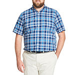 IZOD Big and Tall Saltwater - Dockside Chambray Mens Short Sleeve Plaid Button-Front Shirt