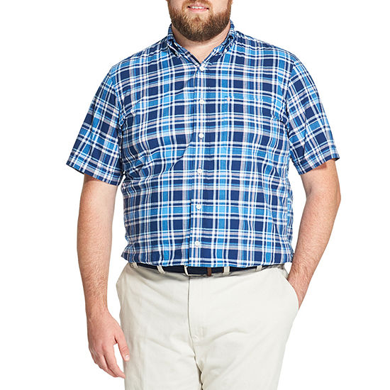 7b7d6f8e IZOD Saltwater - Dockside Chambray Mens Short Sleeve Plaid Button-Front Shirt  Big and Tall - JCPenney