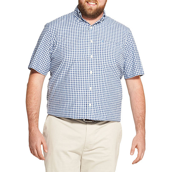 Izod The Breeze Shirt Mens Short Sleeve Cooling Moisture Wicking Gingham Button Front Shirt Big And Tall