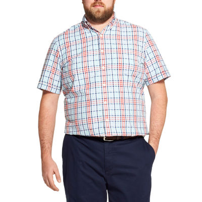 IZOD The Breeze Shirt Mens Short Sleeve Cooling Moisture Wicking Plaid Button-Front Shirt Big and Tall