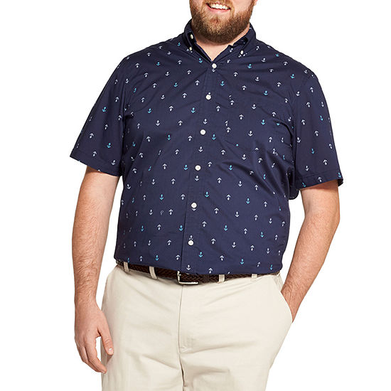 IZOD Big and Tall The Breeze Shirt Mens Short Sleeve Cooling Moisture Wicking Button-Front Shirt
