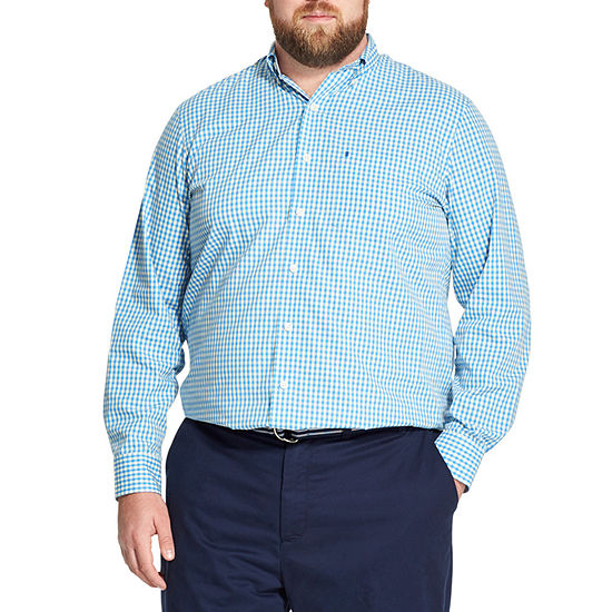 IZOD Mens Long Sleeve Gingham Button-Front Shirt Big and Tall