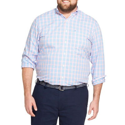 IZOD Mens Long Sleeve Plaid Button-Front Shirt Big and Tall