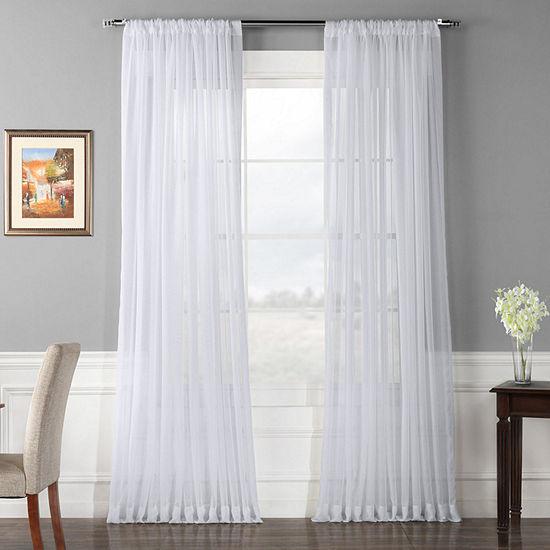 Exclusive Fabrics & Furnishing Rod-Pocket Single Sheer Curtain Panel