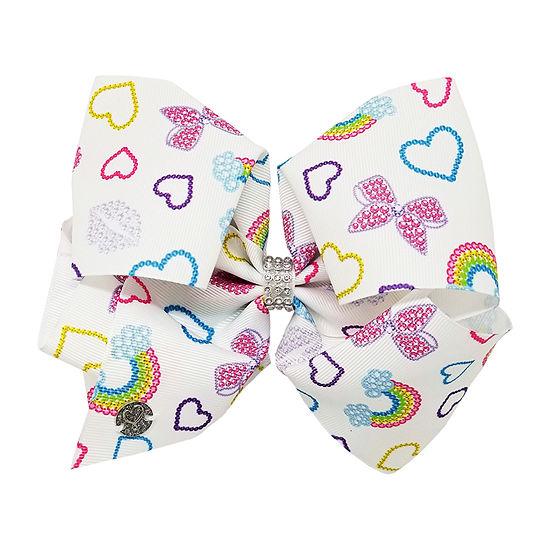 Jojo Siwa White Bow With Rainbow And Heart Print
