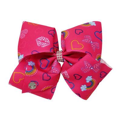 JoJo Siwa Pink Bow With Rainbow And Heart Print