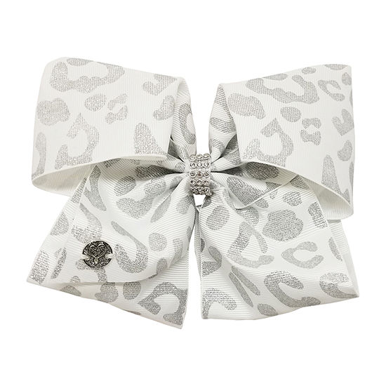 JoJo Siwa White Bow With Silver Leopard Print