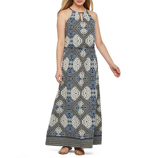 London Style Sleeveless Diamond Maxi Dress
