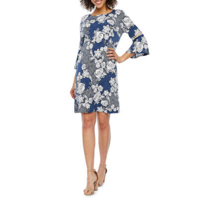 Studio 1 3/4 Bell Sleeve Floral Puff Print Sheath Dress
