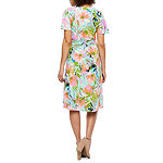 London Style Short Sleeve Floral Wrap Dress