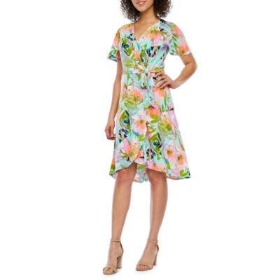 London Style Short Sleeve Floral Wrap Dress