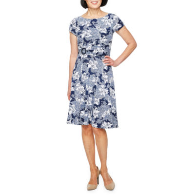 Perceptions Short Sleeve Floral Puff Print Fit & Flare Dress