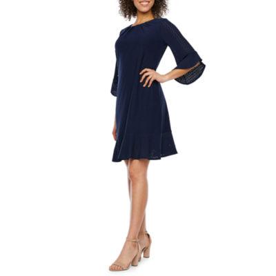 London Style 3/4 Sleeve Eyelet Sheath Dress
