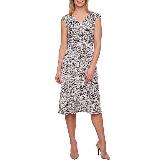 Perceptions Short Sleeve Puff Print Dots Fit & Flare Dress