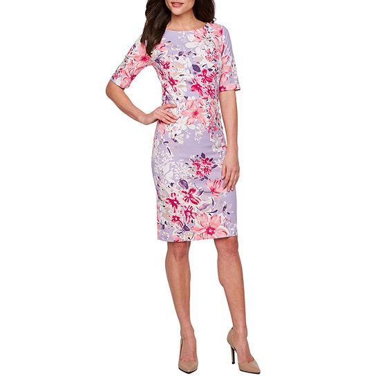 R K Originals Short Sleeve Floral Sheath Dress