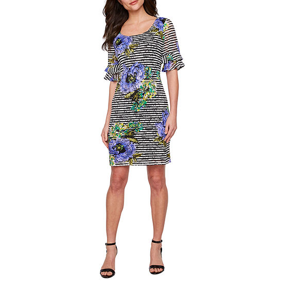 Ronni Nicole Short Sleeve Floral Printed Lace Shift Dress