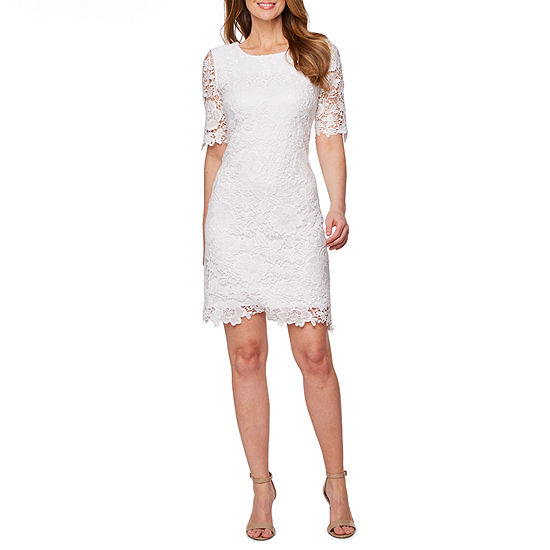 Studio 1 Short Sleeve Lace Floral Sheath Dress