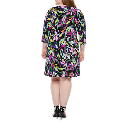 MSK 3/4 Sleeve Floral Sheath Dress-Plus