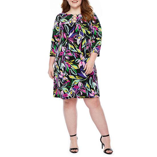 MSK-Plus 3/4 Sleeve Floral Sheath Dress