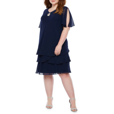 Onyx Short Sleeve Embellished Shift Dress-Plus
