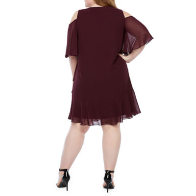 Onyx Short Sleeve Cold Shoulder Shift Dress-Plus