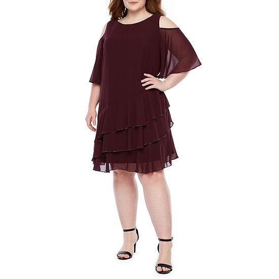 Onyx Short Sleeve Cold Shoulder Shift Dress-Plus