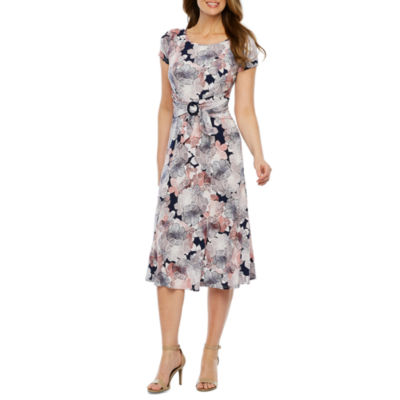 Perceptions Short Sleeve Floral Puff Print Fit & Flare Dress-Petite