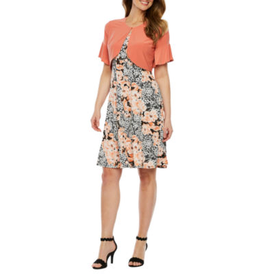 Perceptions Short Bell Sleeve Floral Puff Print Jacket Dress-Petite